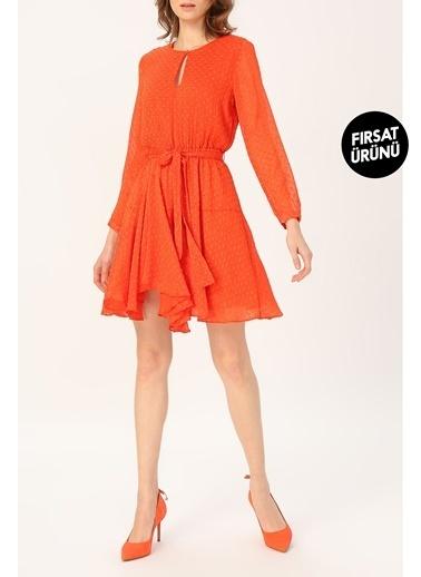 Random Kadın Asimetrik Kesim Belden Bağlamalı Elbise Oranj